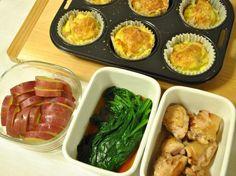 常備菜 : 春キャベツのキッシュ、さつまいもの甘煮、ミニほうれん草のお浸し、鶏もも肉の塩こうじ焼き