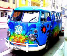 Awesome hippie van that my kid like, totally wants when she's old enough to drive!