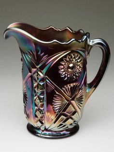 MILLERSBURG MARILYN CARNIVAL GLASS WATER PITCHER