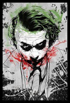 Joker Heath Ledger By Renato Cunha this in a classic black frame Der Joker, Joker Und Harley Quinn, Heath Ledger Joker, Joker Art, Joker Images, Joker Pics, Cheech Y Chong, Fotos Do Joker, Joker Kunst