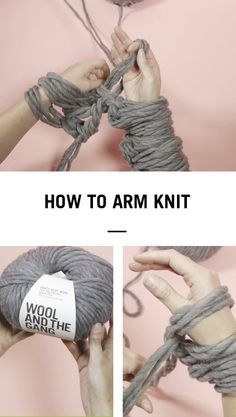 How to arm knit a blanket by Wool and The Gang The post How to arm knit a blanket by Wool and The Gang appeared first on Best Knitting Pattern. Knitting Projects, Crochet Projects, Knitting Patterns, Scarf Patterns, Diy Crochet, Hand Crochet, Arm Crocheting, Easy Yarn Crafts, Cotton Cord