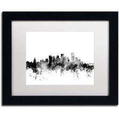 Trademark Fine Art Edmonton Canada Skyline B Canvas Art by Michael Tompsett, White Matte, Black Frame, Size: 11 x 14, Gray