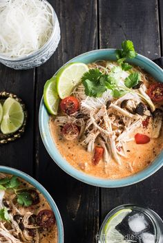 Crock Pot Thai Chicken Soup is a lightened up version of Thai chicken curry. It's a delicious slow cooker chicken recipe that cooks for 8-10 hours.