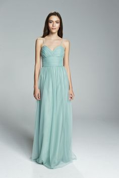 ADIE. Spaghetti strap ruched cup cumberbund waist bridesmaids dress shown in Sage. Available in 27 colors.