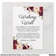 Shop Marsala & Pink Floral Wedding Wishing Well Cards created by ThePaperedWedding. Wedding Reception Cards, Wedding Cards, Our Wedding, Wedding Ideas, Floral Wedding, Wedding Flowers, Wishing Well Wedding, Tri Fold Wedding Invitations, Wedding Wording