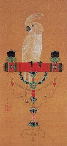 a parrot by jakuchu ito (1716-1800) 鸚鵡図