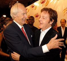 Father-of-four Sir George Martin, often described as 'The Fifth Beatle' (pictured with Sir. Paul Mccartney 2017, Paul Mccartney And Wings, Sir Paul, John Paul, Great Bands, Cool Bands, Sir George Martin, Les Beatles, Beatles Art