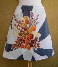 Herfst Bloemen borduurwerk rok A-lijn rok gevoerd Ikea