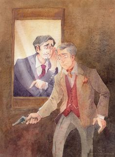 I post it here late, but still: very happy Birthday to Miles Richardson!  Doctor Who x Sleuth (the play) crossover.