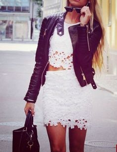 Edgy look | Lace skirt and crop top with leather jacket