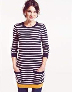 AMITY Womens Striped Knitted Tunic Dress