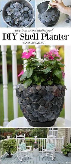 DIY Shell Planter - a fun and simple shell craft. sandandsisal.com