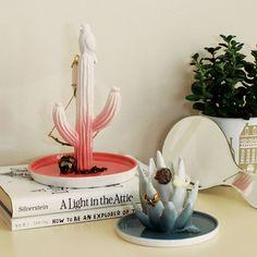 aloe + cactus ceramic jewellery holders