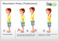 Mountain Pose (Tadasana) This is a simple yet powerful yoga pose for good posture and increased height. It even strengthens the core and leg muscles as well as reduces flat feet. Yoga Poses For Men, Easy Yoga Poses, Top 10 Home Remedies, Mountain Pose, Basic Yoga, Simple Yoga, Yoga For Flexibility, Types Of Yoga, Yoga For Kids