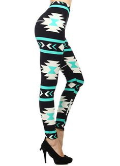 Aztec Turquoise And Black Cowgirl Leggings – Elusive Cowgirl Boutique