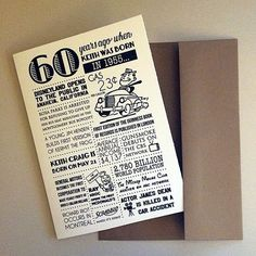 A fun, personalized 5x7 white folded greeting card. Includes events, headlines, facts and more from 1955