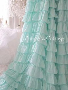 Ruffled Curtain Drape Panel in Aqua Blue Ruffles for your Shabby Chic Coastal Beach Cottage Romantic Home or Caribbean retreat. Beach Cottage Decor, Shabby Cottage, Cottage Chic, Ruffle Shower Curtains, Drapes Curtains, Girls Bedroom, Bedroom Decor, Bedrooms, Master Bedroom