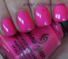 "China Glaze Summer Neons Collection for Summer 2012: ""Hang Ten-toes"" is a bright, blue-toned neon pink with faint, silvery, blue-violet shimmer. #nails"