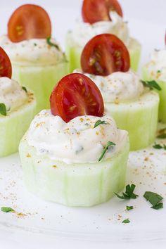 Cucumber Bites (with Herb Cream Cheese Tomatoes) • YumExpert