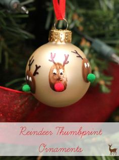 Reindeer Thumbprint Ornament |Featured with 33+ Handmade Christmas Ornaments to Make with Your Kids! {OneCreativeMommy.com}