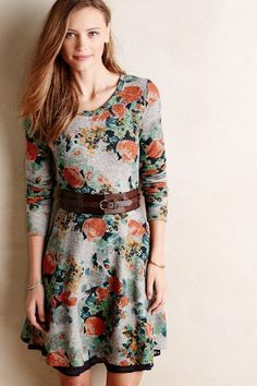 Terry Floral Fit & Flare Dress - #anthrofave