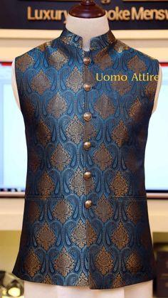 Get customized mens stylish waistcoat for your mehndi occasion, Exclusive designs of awami waistcoats in Jamawar & Tropical fabric available at Uomo Attire-Luxury Bespoke Menswear. Sherwani For Men Wedding, Wedding Dresses Men Indian, Wedding Dress Men, Men Dress Up, Dress Suits For Men, Waistcoat Designs, Men's Waistcoat, Marriage Dress For Men, Stylish Waistcoats