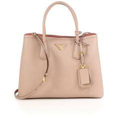 Prada Saffiano Cuir Small Double Bag ($2,780) ❤ liked on Polyvore featuring bags, handbags, cammeo, satchels, prada purses, top handle satchel handbags, genuine leather purse, leather satchel handbags and leather purses