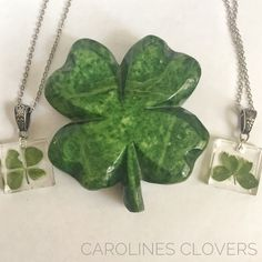 Four Leaf Clover Necklace, Four Leaves, Irish Traditions, Plant Design, Stainless Steel Chain, Beautiful Gifts, Lucky Charm, Flower Necklace, Resin Jewelry
