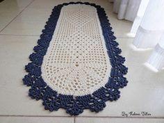 Thelma Salles ღ Artesanatos: Passadeira oval em crochê com gráfico