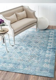 Chroma AS05 Vintage Trellis Dark Blue Rug #RugsUSA