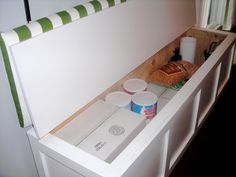 How to Build a Banquet Storage Bench — Budget Wise Home use for food storage awesome!