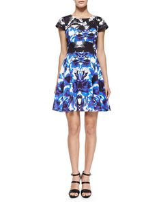 T9HNW Milly Floral Mirage Cap-Sleeve Flare Dress
