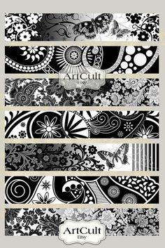 Printable inch size images ART STRIPS for bracelets cuffs, bookmarks, magnets, scrapbooking paper Digital Collage Sheet ArtCult - - Armband Tattoos, Arm Tattoo, Tribal Tattoos, Sleeve Tattoos, Maori Tattoos, Band Tattoo Designs, Maori Tattoo Designs, Marquesan Tattoos, Tattoo Bracelet