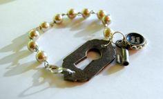 Typewriter Key Bracelet  Art Deco/Cottage Chic by JustWearThese, $28.00