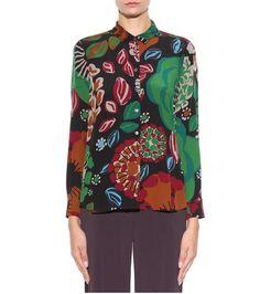Multicoloured printed silk blouse