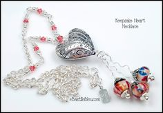 $76  Keepsake Heart Necklace - BBL Handmade Lampwork Glass Beads SRA Pink Fushia Pewter SSPlated Heart Swarovski Crystals