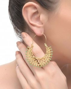 Crescent Earrings with Green Beads