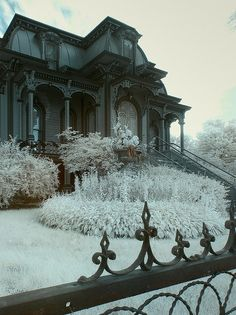 Wonderful photo of a gingerbread Victorian in the icy stillness of winter.