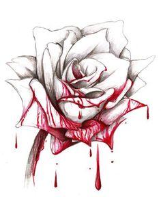 bleeding rose drawing | Drawn bloody rose