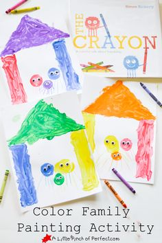 Color Family Painting Activity for Kids-The activity goes well with the book The Crayon-let's learn about colors.