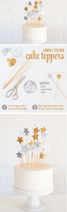 Star Cake Toppers | DIY Graduation Party Ideas for High School
