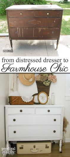 A Once Damaged Dresser Gets a New Look with a Farmhouse Chic Style Including Tips on How to Remove Veneer by Prodigal Pieces | www.prodigalpieces.com