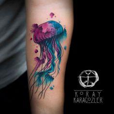 Jelly Fish by koraykaragozler on DeviantArt Cover Up Tattoos, Leg Tattoos, Body Art Tattoos, Simple Tattoo With Meaning, Tattoos With Meaning, Calf Tattoo, I Tattoo, Dope Tattoos For Women, Jellyfish Tattoo