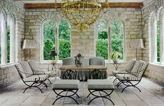 Orangerie reclaimed by Chateau Domingue and turned into a pool house by designer Pam Pierce