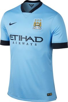 Manchester City New Home Fresh Sky-blue Jersey. Its main color is blue. The club's emblem is on the left side and the Nike swoosh is on the right side. Soccer World, Play Soccer, Premier League, City Of Manchester Stadium, Jersey Atletico Madrid, Jersey Shirt, T Shirt, Moda Masculina, Outfits