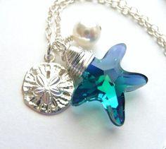 Starfish Crystal Charm Necklace Swarovski Teal Blue by JBMDesigns