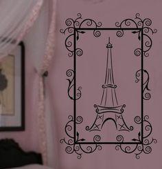Pretty in Paris Eiffel Tower VInyl Wall Lettering Decal 22Wx32H Girls Room. $42.00, via Etsy.