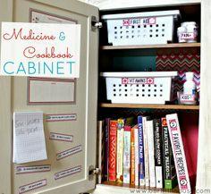 organized kitchen cabinet - medicine/cookbooks/important numbers/rewards points