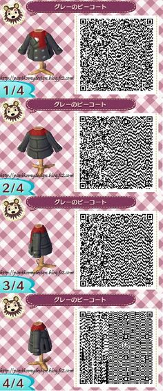 Animal Crossing New Leaf - Peacoat with Scarf QR Pattern
