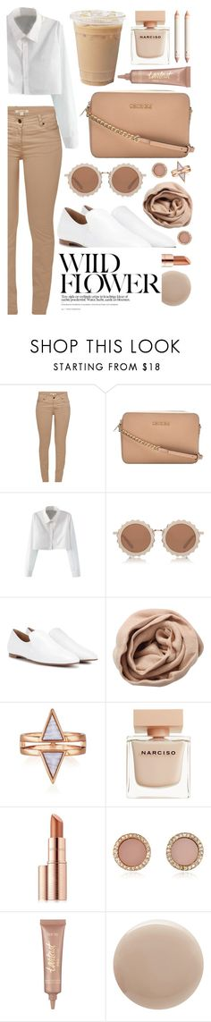 """""""colored denim"""" by nnm-s ❤ liked on Polyvore featuring Barbour, MICHAEL Michael Kors, WithChic, House of Holland, The Row, Brunello Cucinelli, Narciso Rodriguez, Estée Lauder, Michael Kors and tarte"""